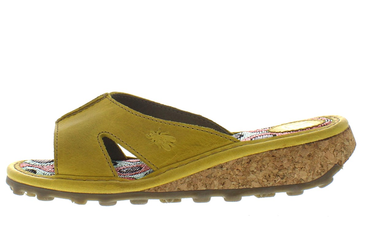 Fly London Kert Mustard Yellow Leather Slip On Women's Mule Sandals