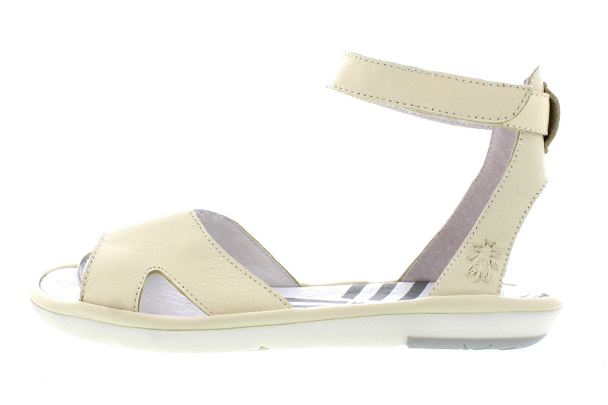 Fly London Mafi Off White Leather Ankle Strap Open Toe Flat Sandals