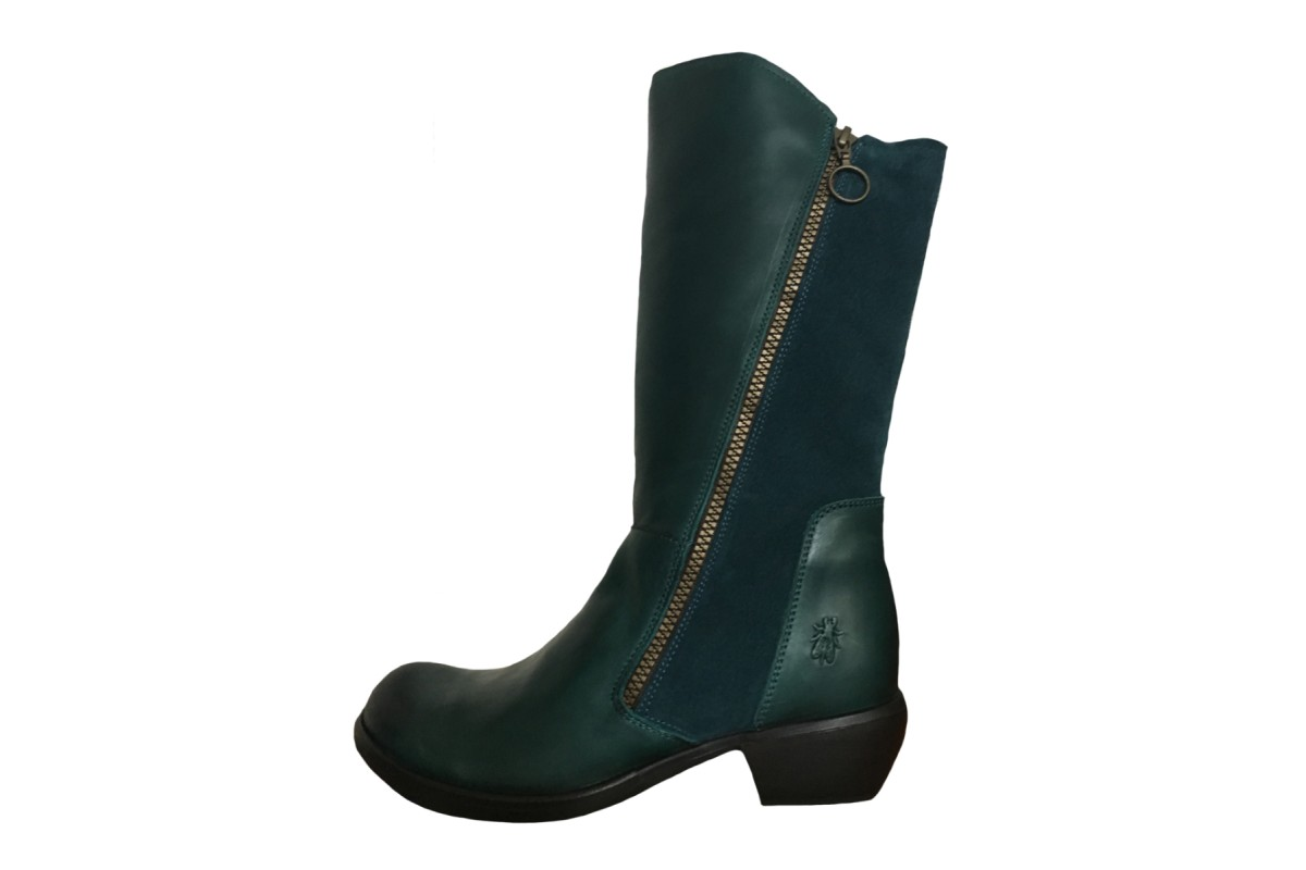 Fly London Malt Rug Oil Suede Petrol Teal Low Heel Calf Boots