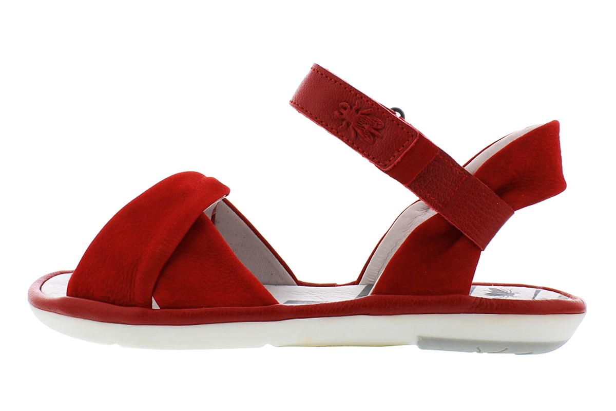 Fly London Mome Lipstick Red Leather Open Toe Flat Sandals