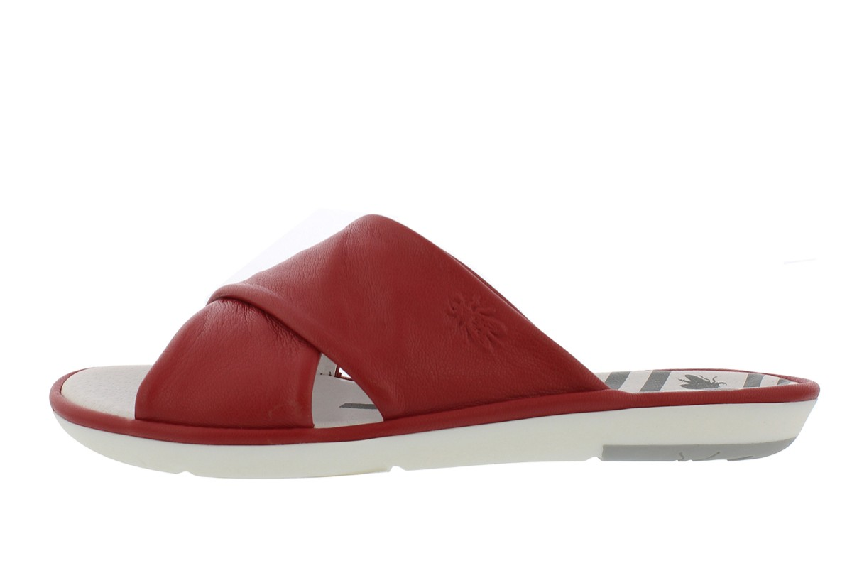 Fly London Muda Lipstick Red Genuine Leather Cross Strap Sliders Flat Sandals
