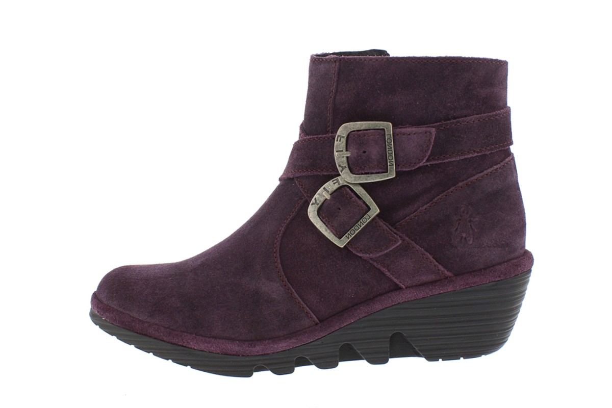 Fly London Perz Purple Oil Suede Wedge Heel Ankle Boots