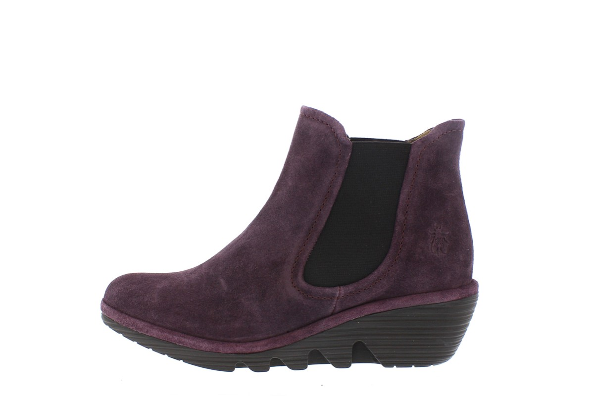 Fly London Phil Purple Oil Suede Wedge Heel Chelsea Ankle Boots