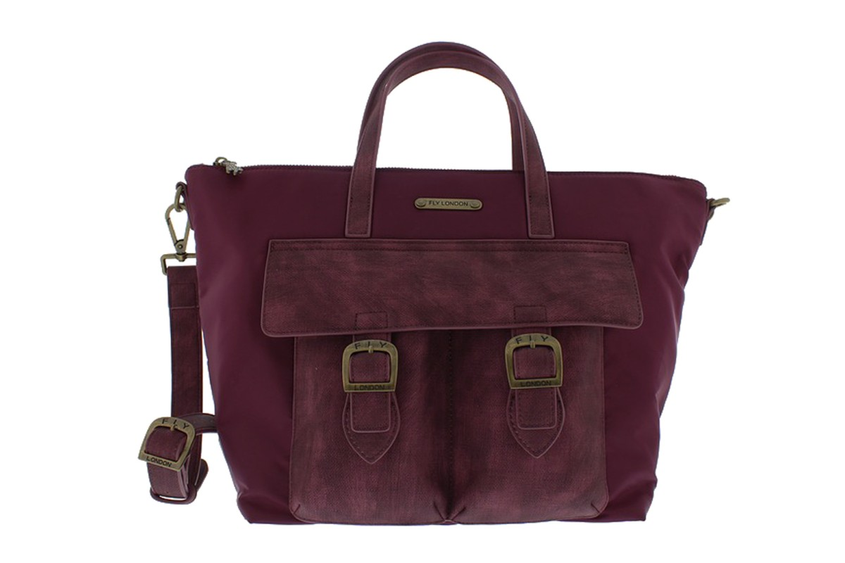 30d41b22672b Fly London Rome Burgundy Nylon Faux Leather Handbag Shoulder Bag - KissShoe