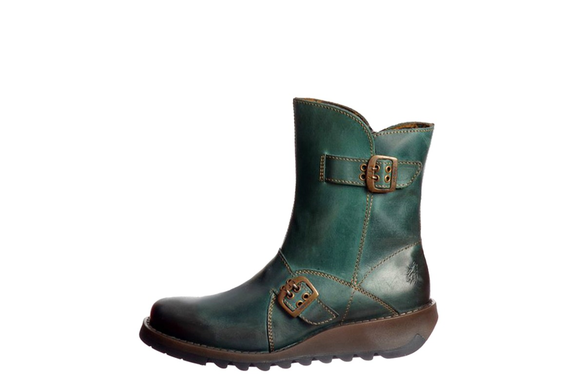Fly London Seti Petrol Teal Leather Wedge Heel Ankle Boots