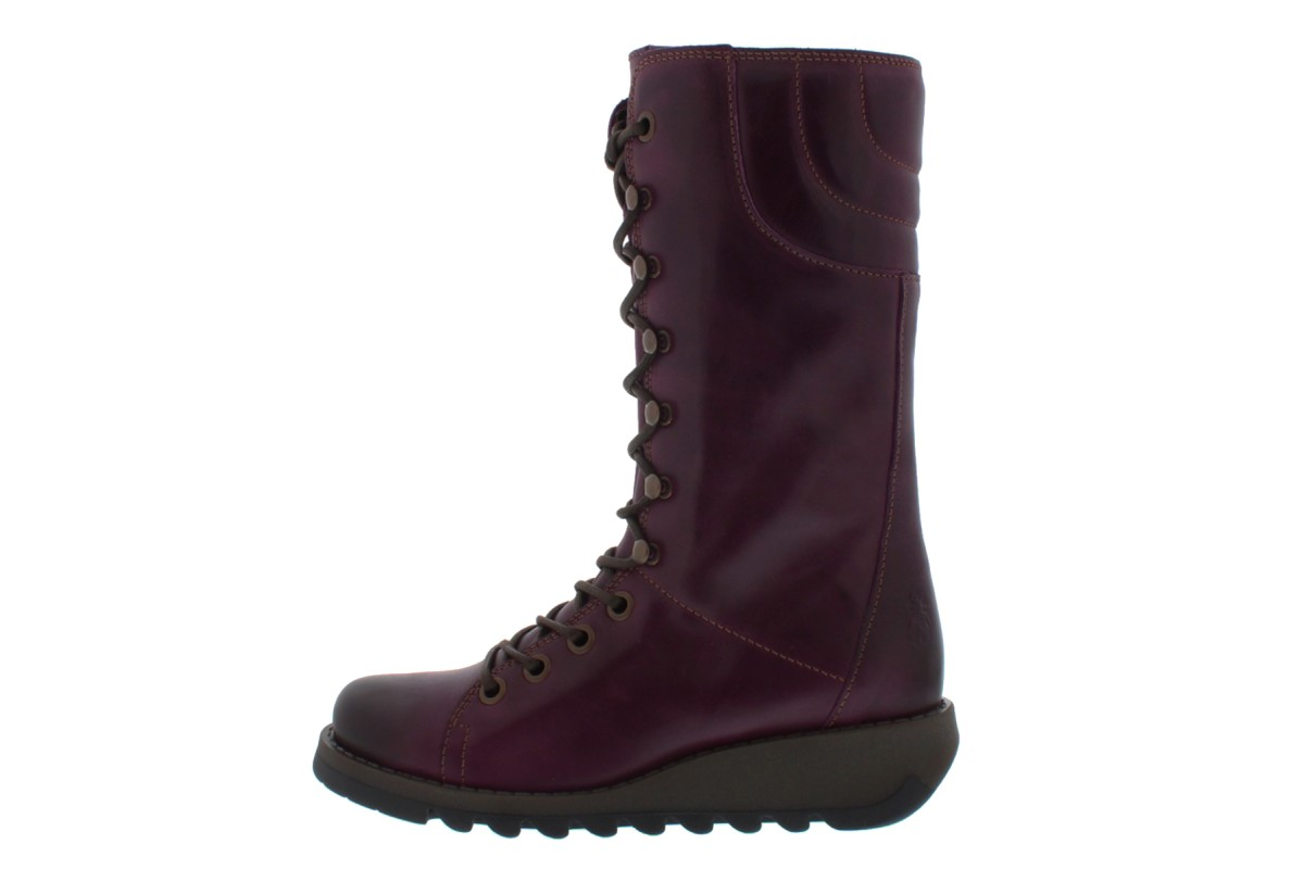 Fly London Ster Purple Burgundy Lace Up Leather Wedge Heel Military Calf Boots