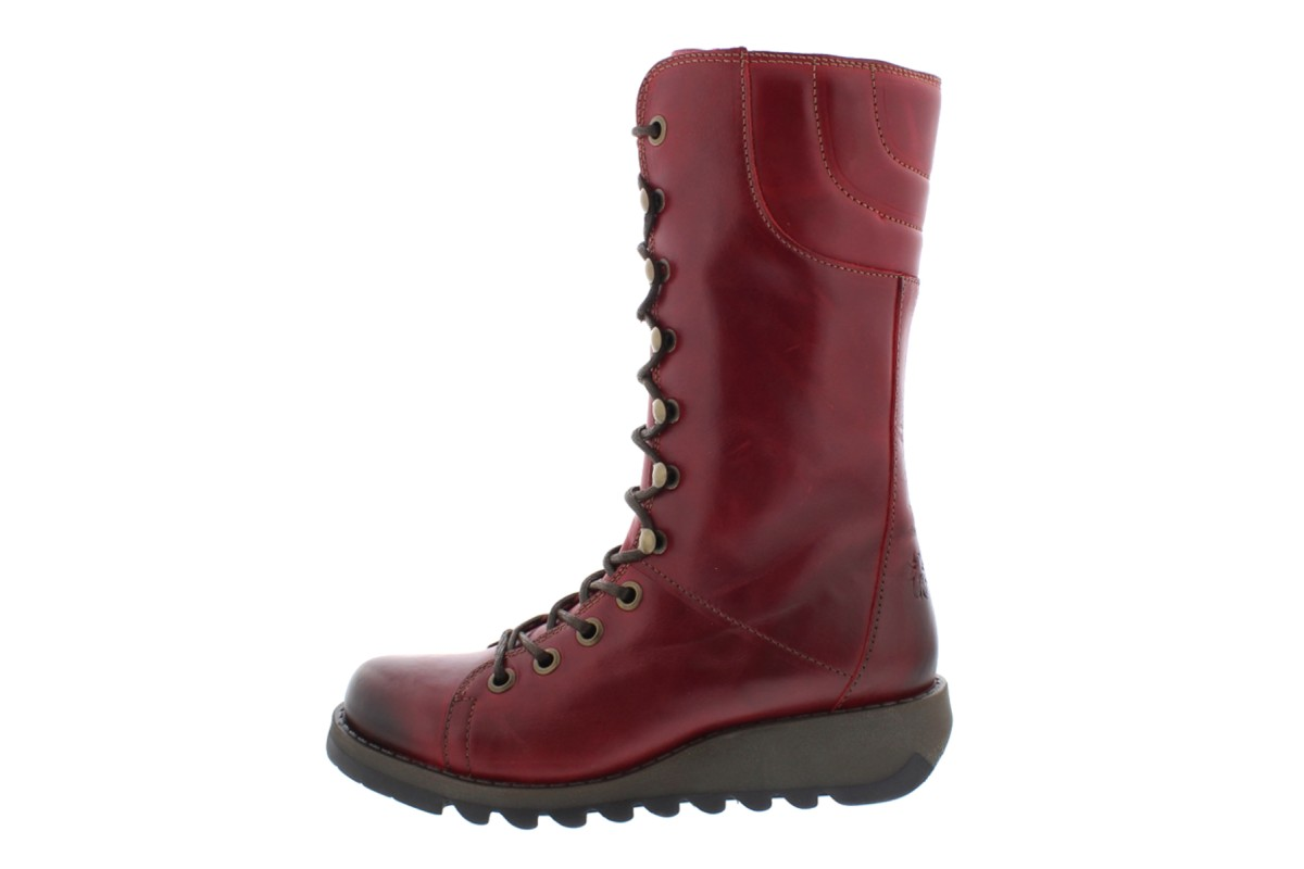 Fly London Ster Red Lace Up Leather Wedge Heel Military Calf Boots