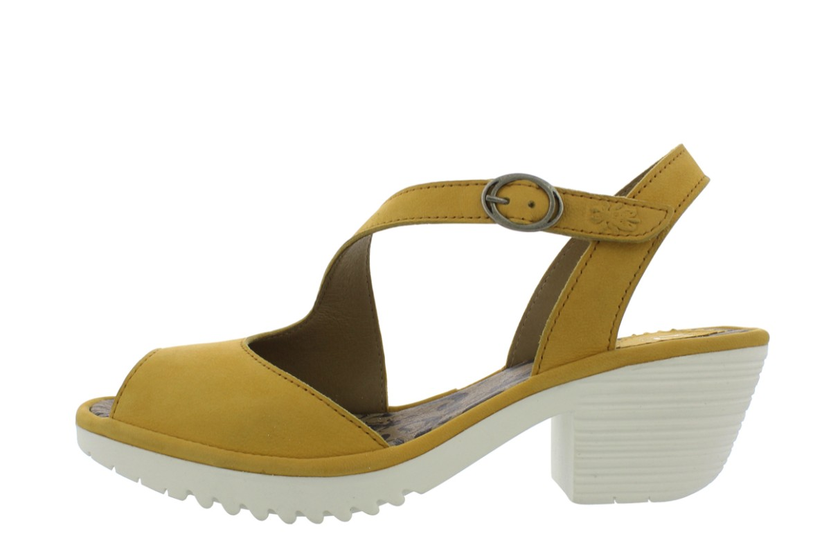 Fly London Wyno Bumble Off White Mustard Genuine Leather Block Heel Sandals