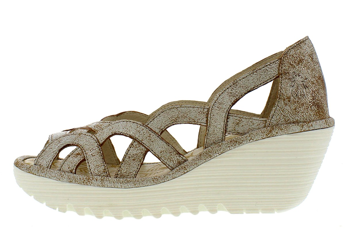 Fly London Yadi Cool Pearl Metallic Cut Out Wedge Sandals