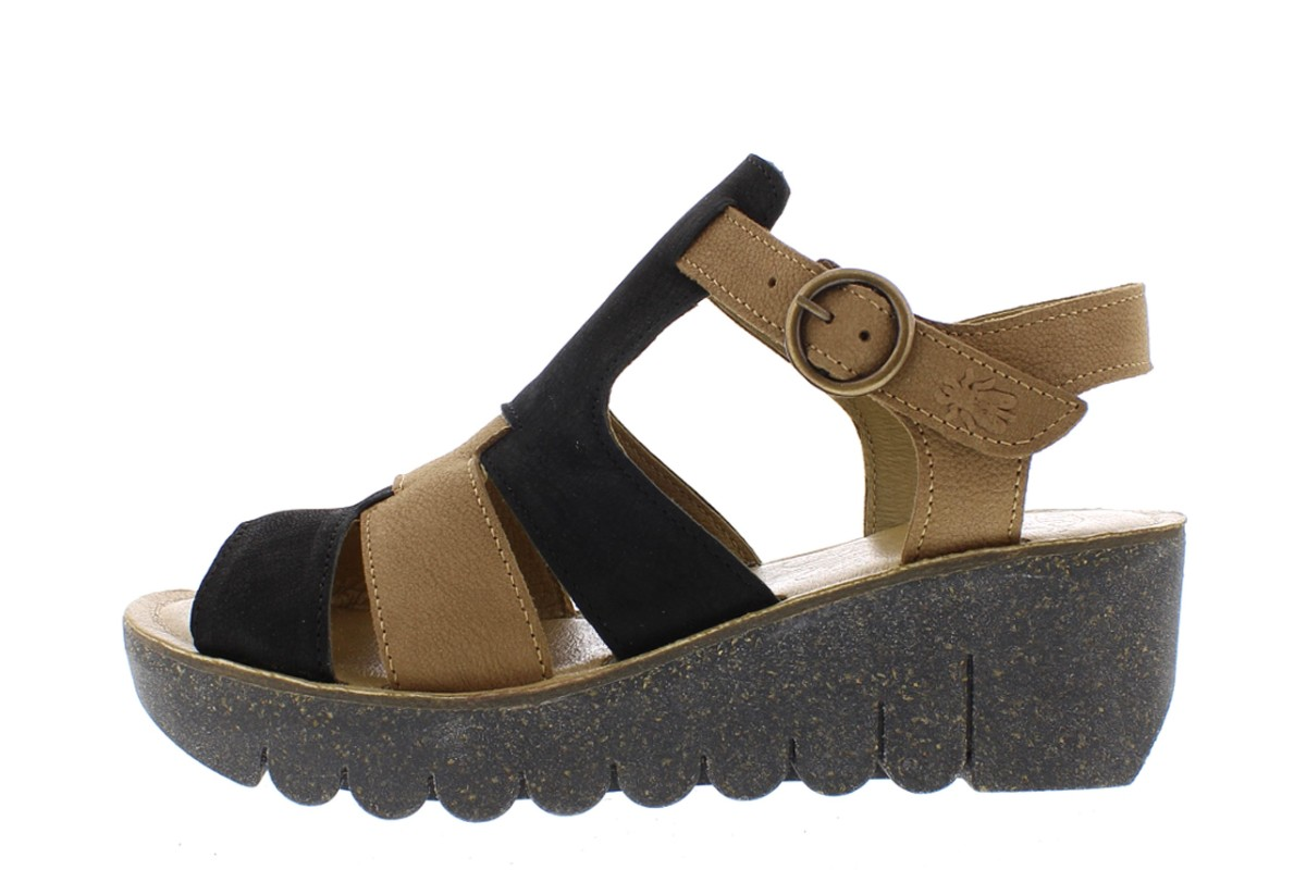 Fly London Yuni Black Sand Genuine Leather Mid Heel Wedge Sandals
