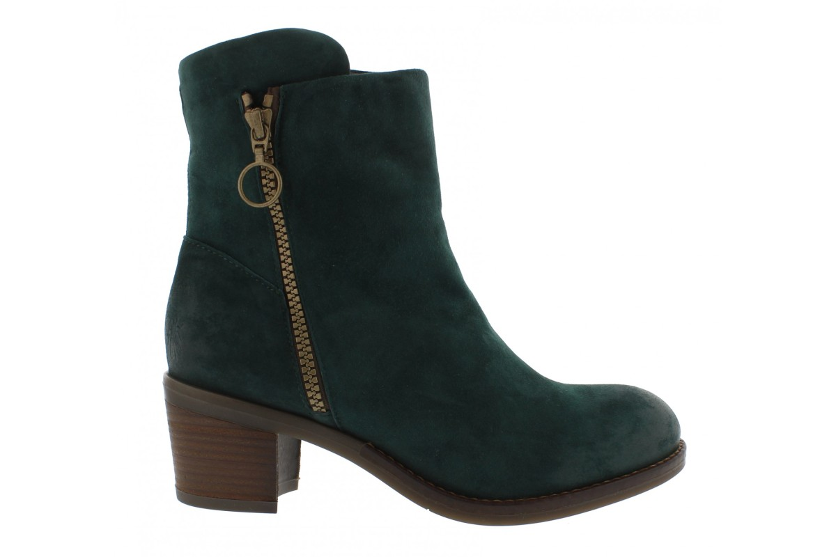 Fly London Zent Dark Green Forest Silky Suede Block Heel Ankle Boots