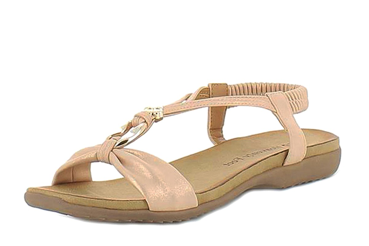 Heavenly Feet Catalina Rose Gold T Strap Comfort Sandals