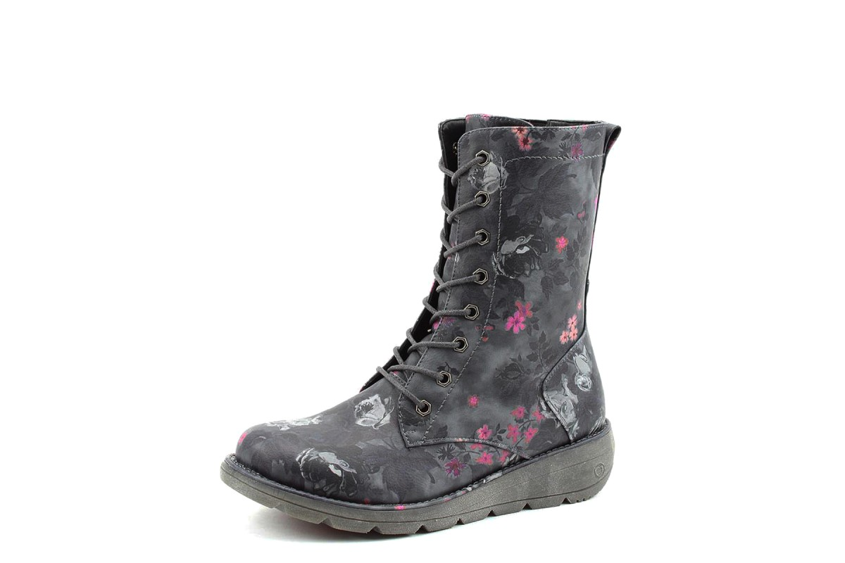 Heavenly Feet Martina Black Floral Low Wedge Lace Up Vegan Mid Height Boots