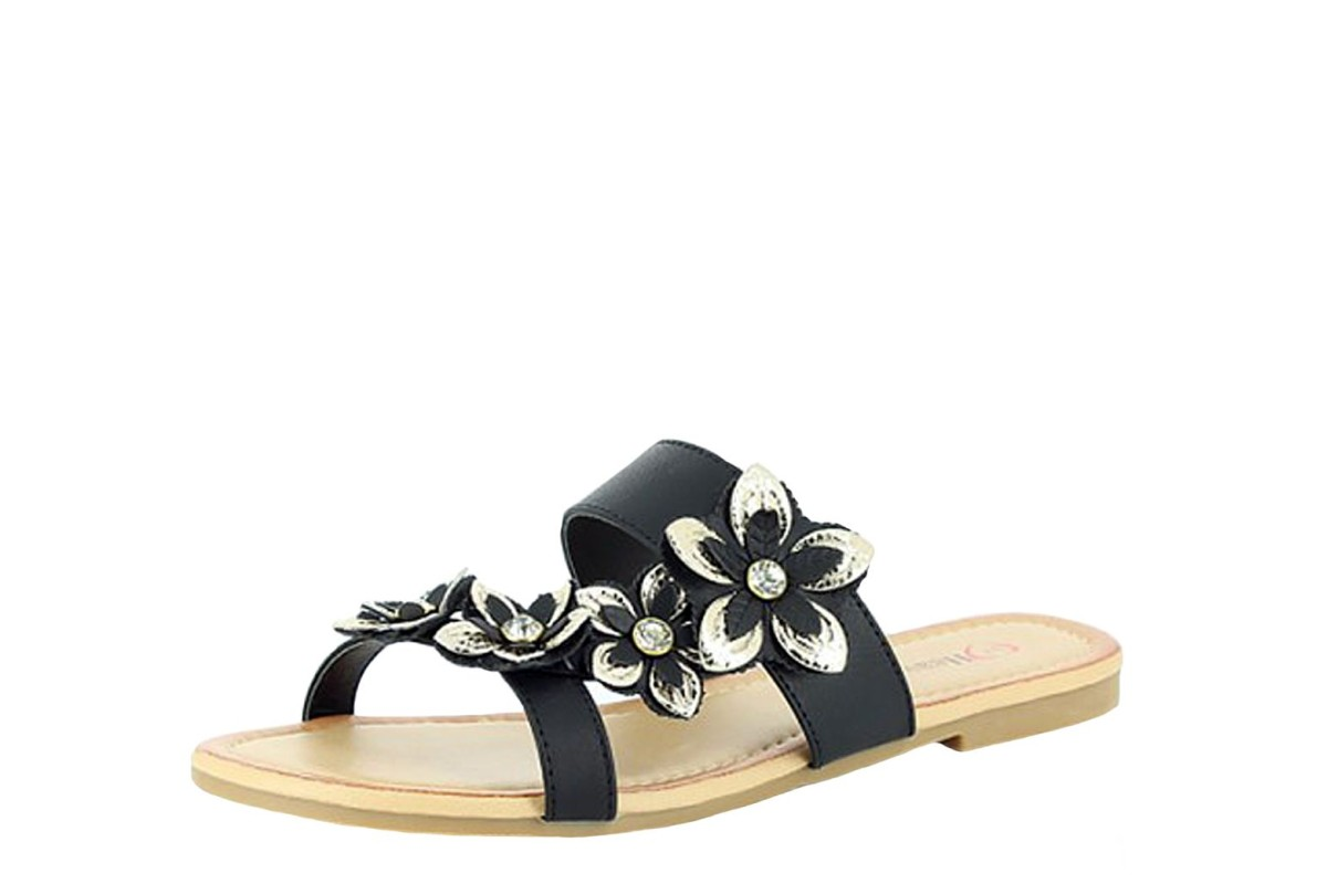 Heavenly Feet Pammy Black Gold Flower Women's Flat Sandals