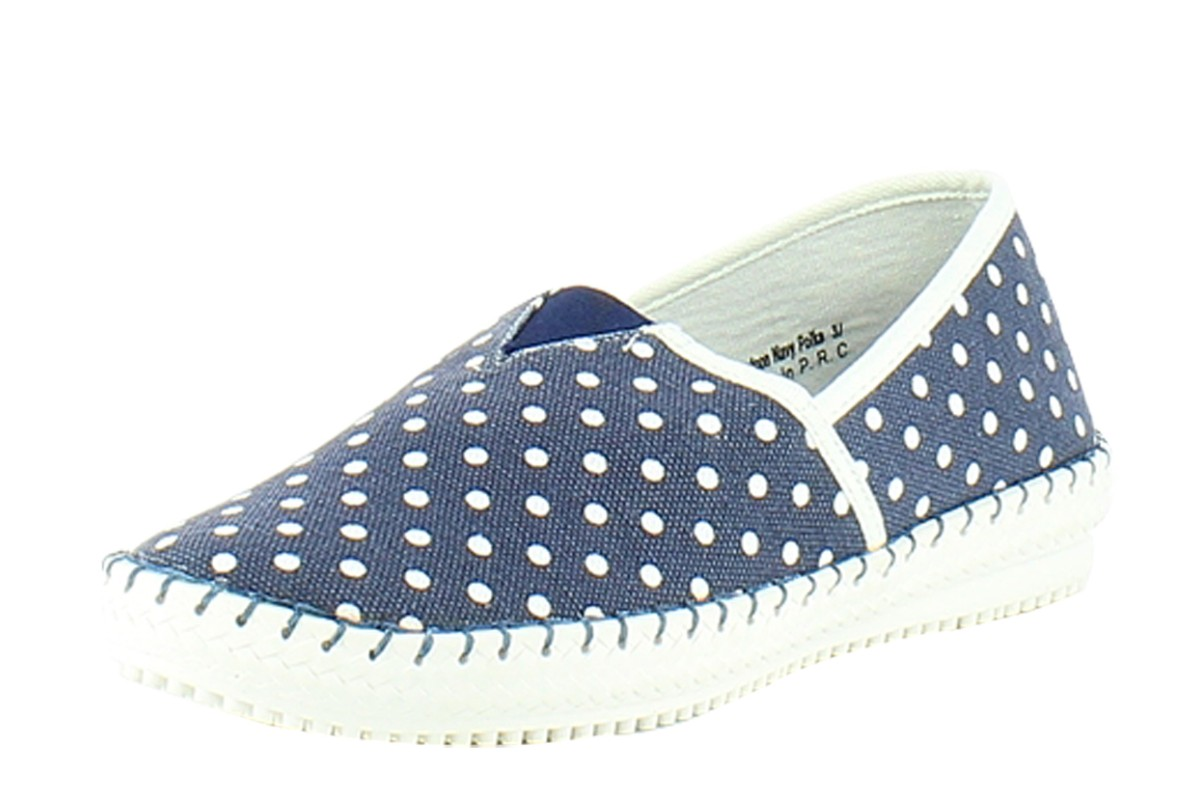 Heavenly Feet Pontoon Navy Polka Dot Flat Comfort Shoes