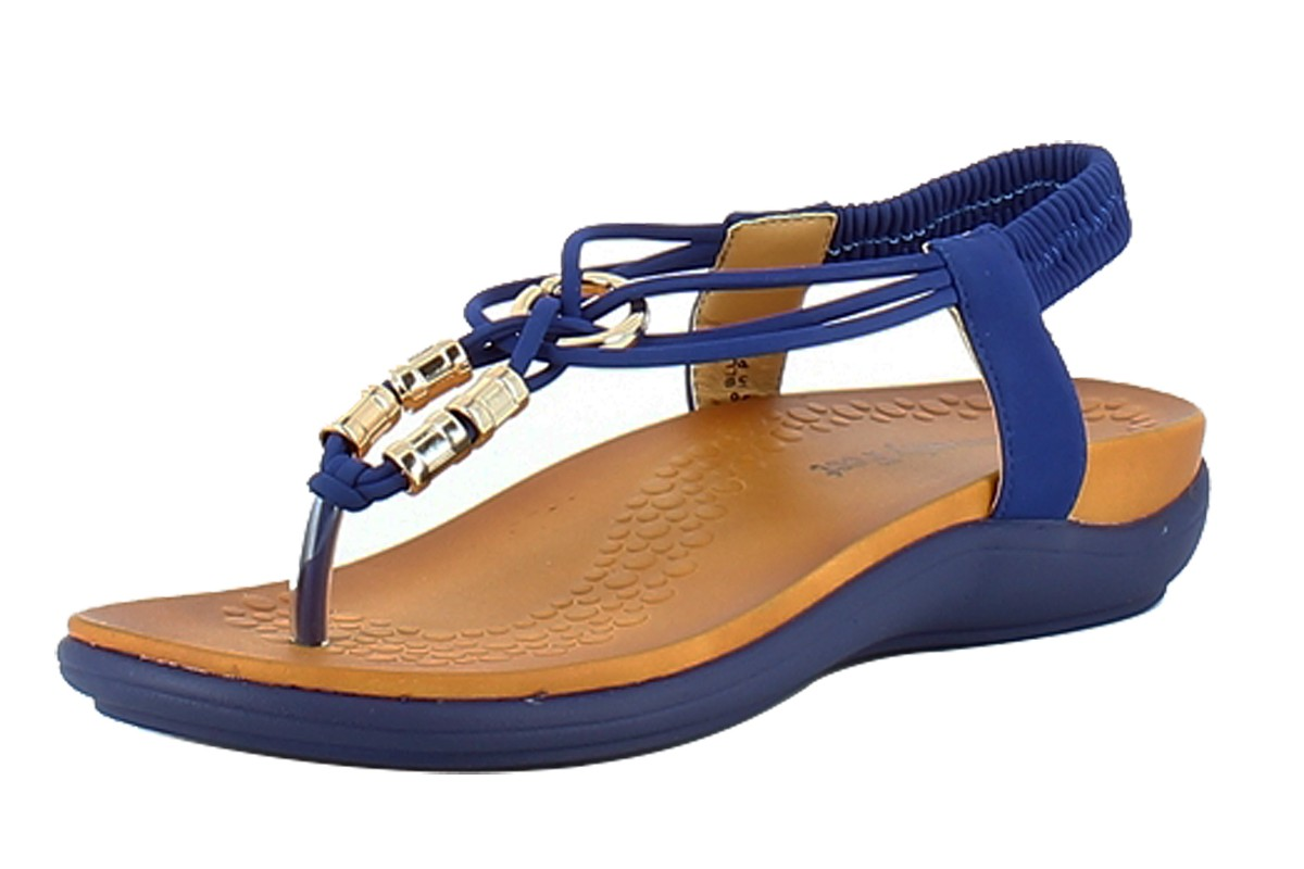 Heavenly Feet Rocco Blue Toe Post Gold Bead Low Wedge Comfort Sandals