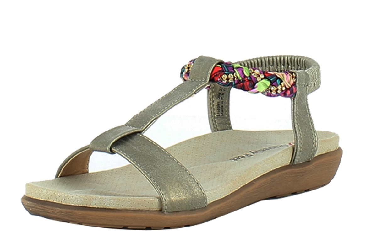 Heavenly Feet Snuggles Gold Low Wedge Comfort Sandals