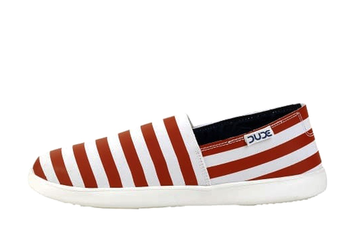 Hey Dude Capri Red Stripes Women's Flat Comfort Shoes
