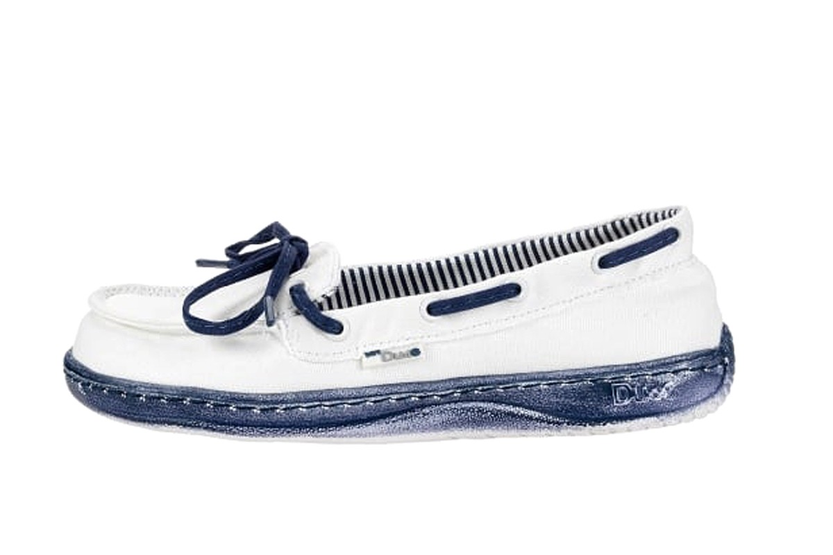 Hey Dude Moka White Navy Women's Comfort Flat Deck Shoes