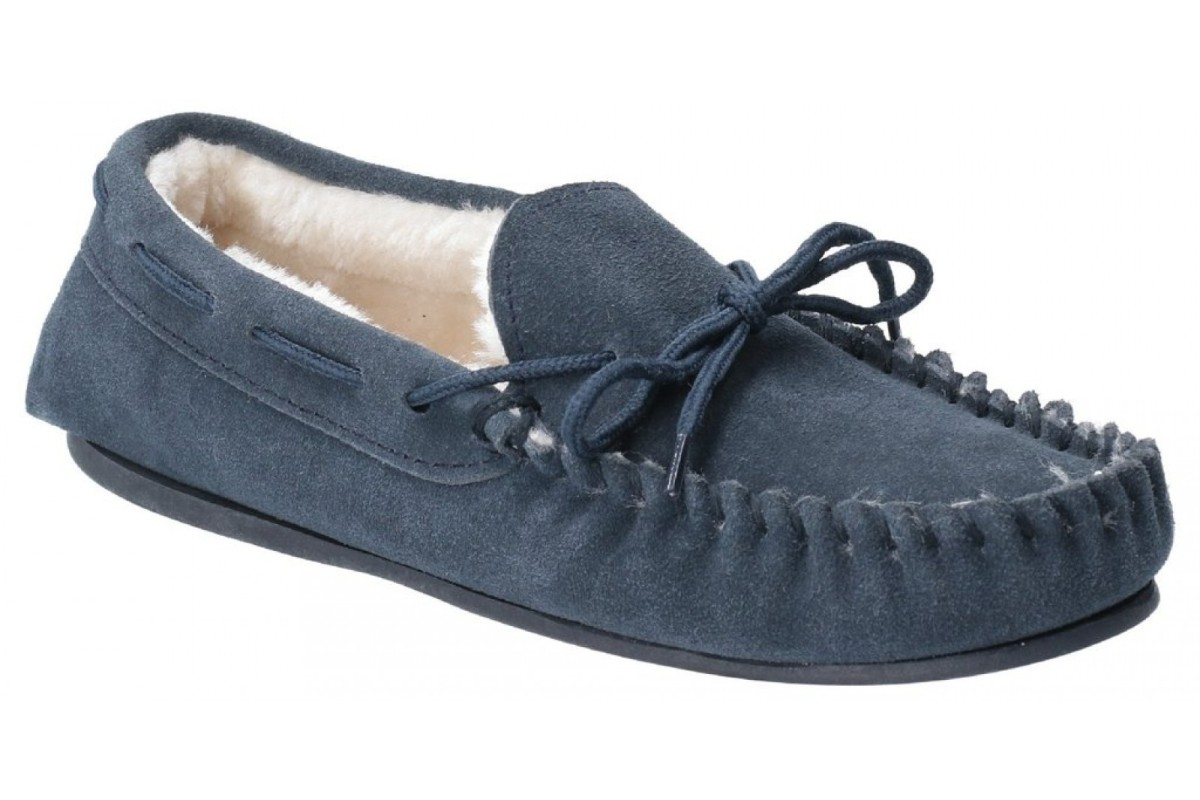 Hush Puppies Allie Navy Suede Faux Fur Lined Moccasin Slippers