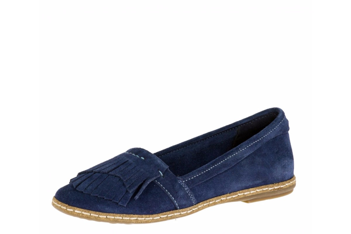 Hush Puppies Anza Piper Navy Suede Fringe Women's Flat Shoes