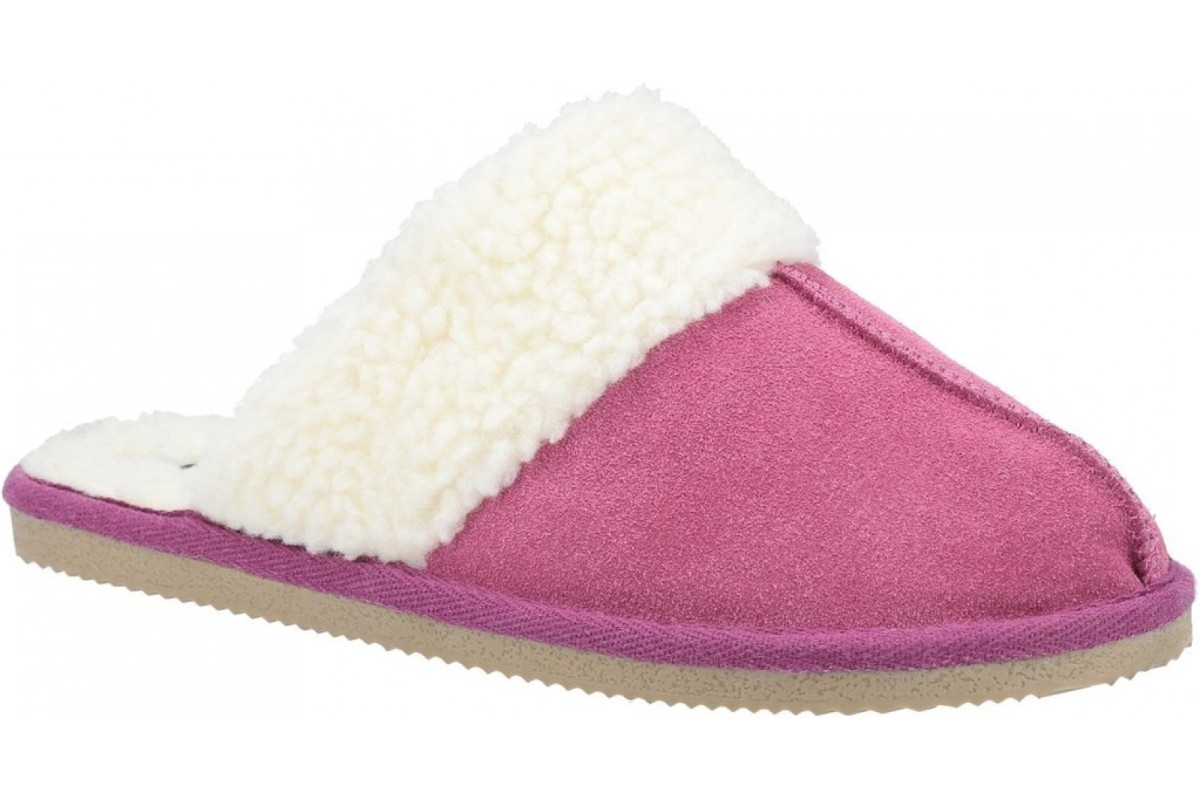 Hush Puppies Arianna Pink Suede Faux Fur Lined Mule Slippers