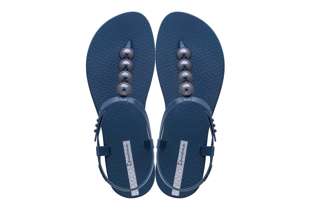 Ipanema Class Sandal Pebble Navy Chrome T Strap Flat Vegan Sandals