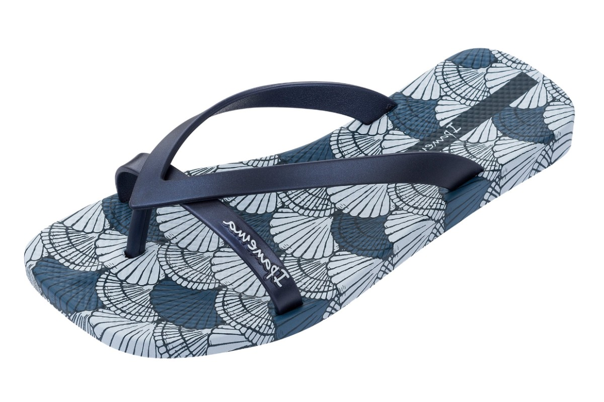 1029ff109196 Ipanema fashion kirey navy blue shell print flip flops kissshoe jpg  1200x800 Shell flip flops