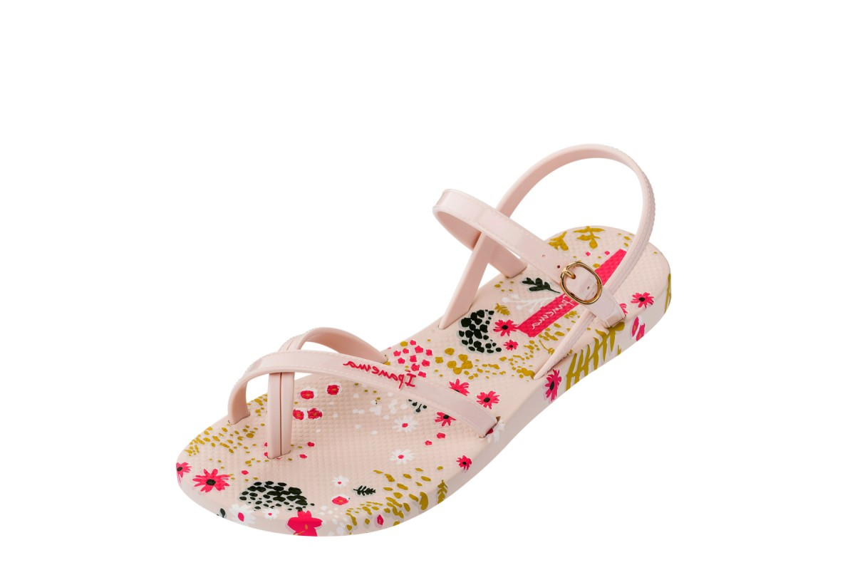 Ipanema Fashion Sandal 21 Ivory Flower Cream Pink Floral Print Sandals