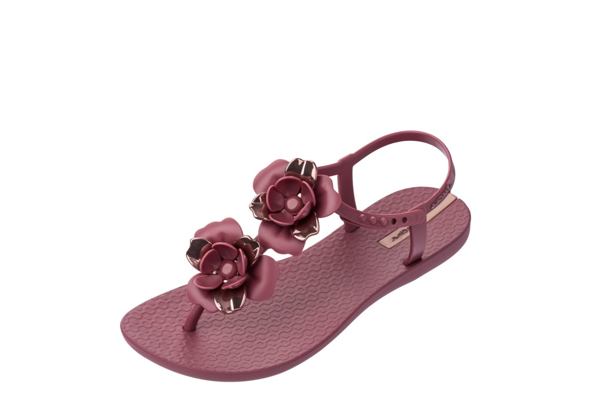 Ipanema Floral Sandal Special Berry Purple Rose Gold T Strap Flat Sandals