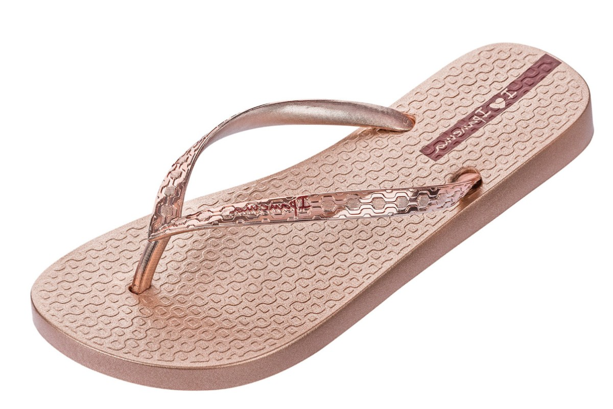 Ipanema Glam Rose Gold Metallic Women's Flip Flops