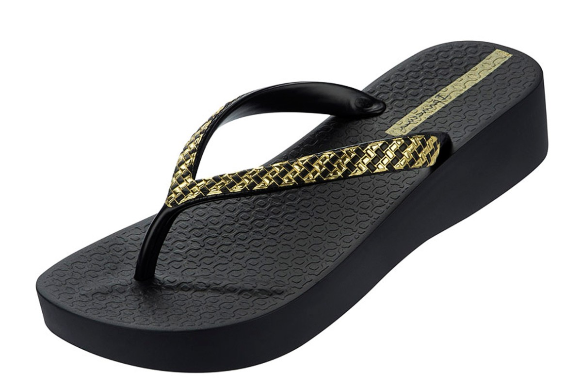 d6f3886a3ac1 Ipanema Mesh Platform Black Gold Women s Wedge Sandals - KissShoe