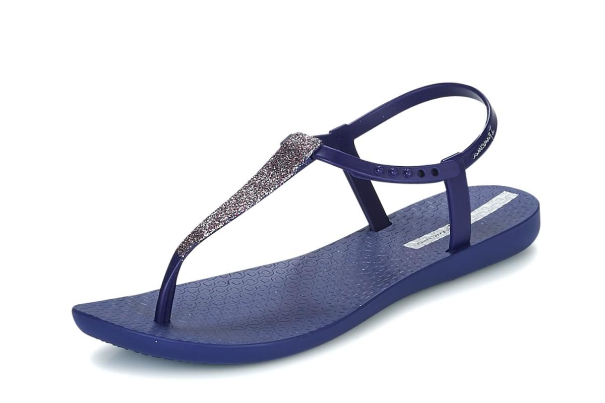 aca378872 Ipanema Pop Glitter Sandal Navy Flat T Strap Flip Flops - KissShoe