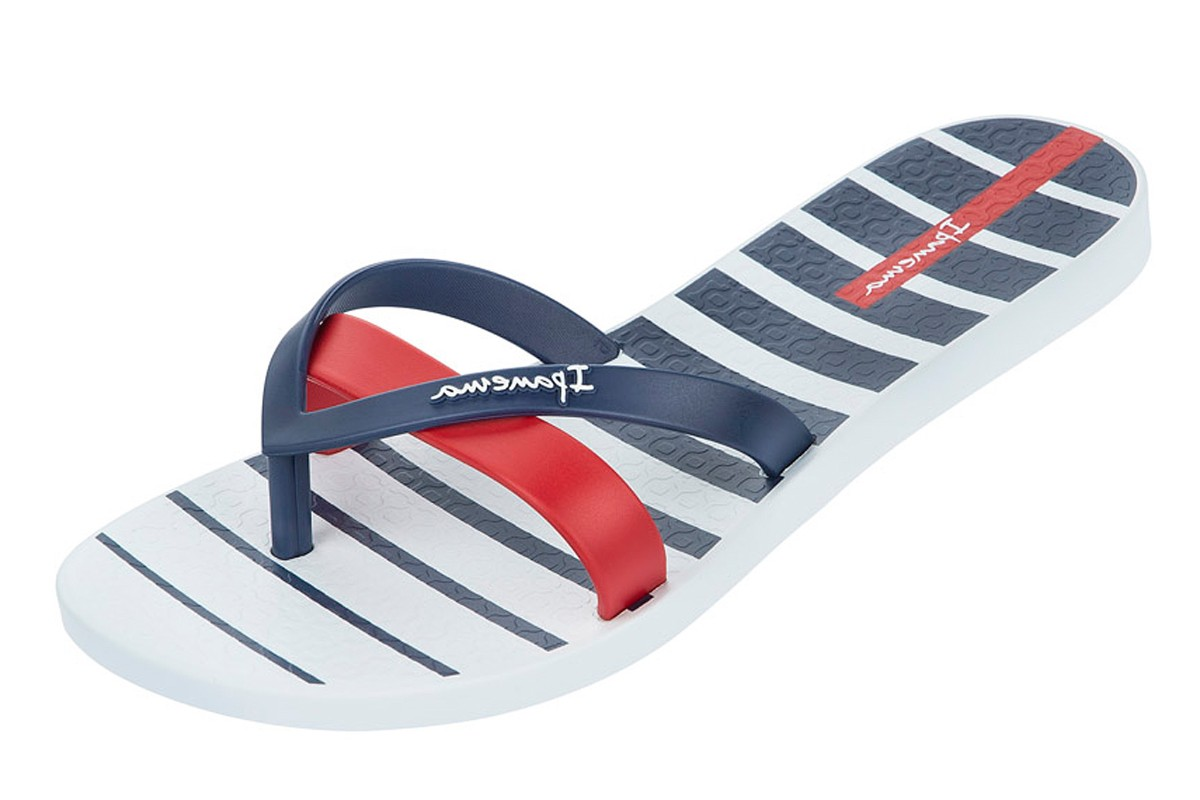 Ipanema Silk Print White Blue Stripe Women's Flip Flops