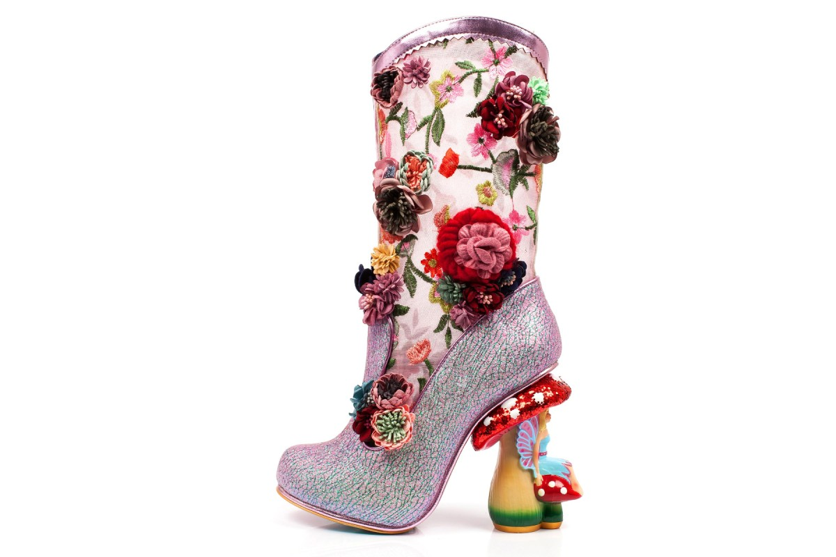 Irregular Choice Angelica Pearson Pink Embroidered Floral Glitter Toadstool Fairy High Heel Calf Boots