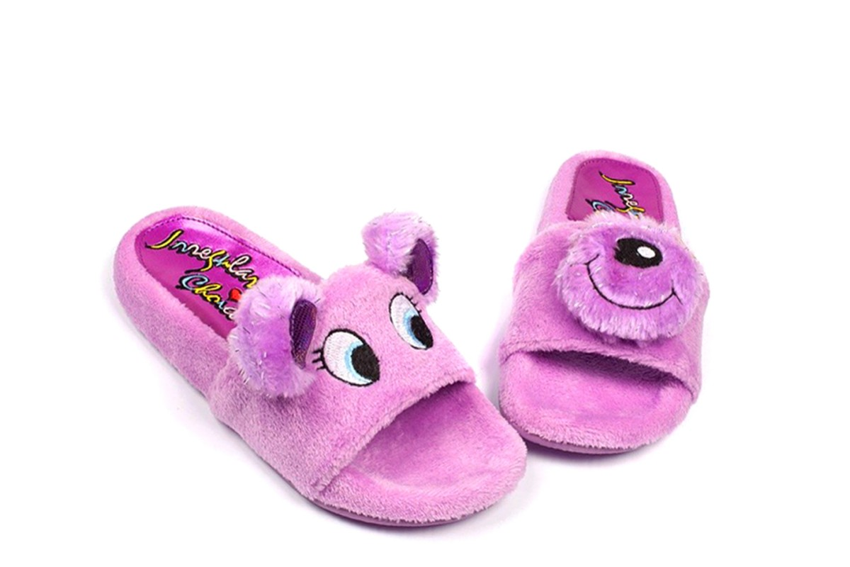 Irregular Choice Baby Bear Lilac Faux Fur Flat Slide Sandals