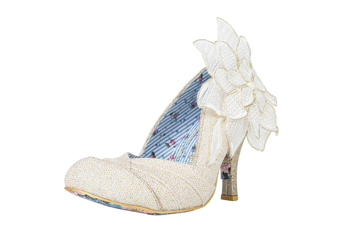 Irregular Choice Baby Love Cream Gold High Heel Flower Court Shoes