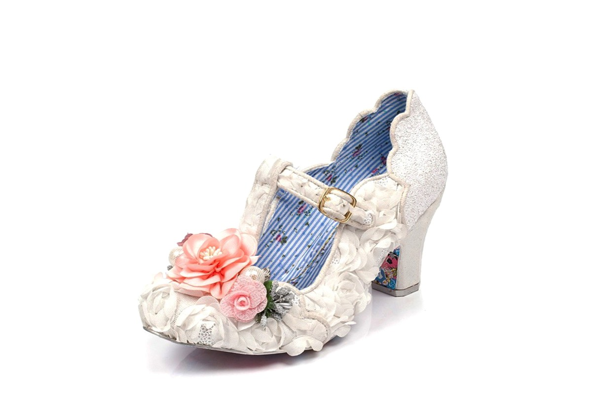 Irregular Choice Carriage Ride White Flower Embellished T Strap Mid Heel Bridal Shoes