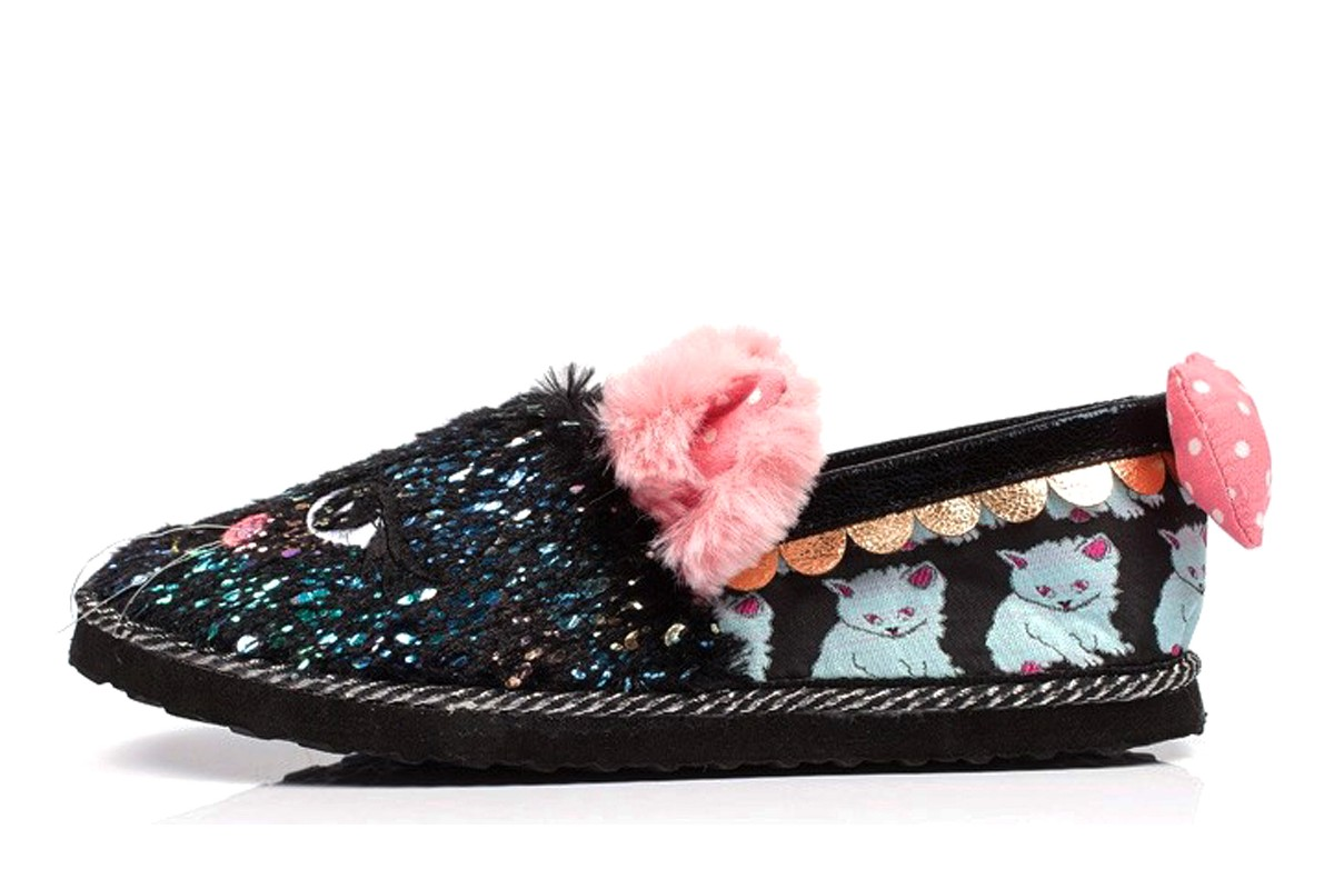 Irregular Choice Cat Nap Black Pink Furry Slippers