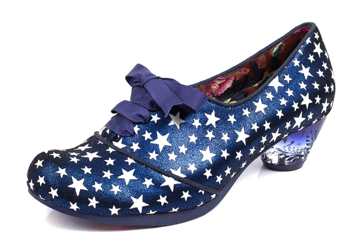 Irregular Choice Curio Low Blue Leather Star Print Mid Heel Lace Up Shoes