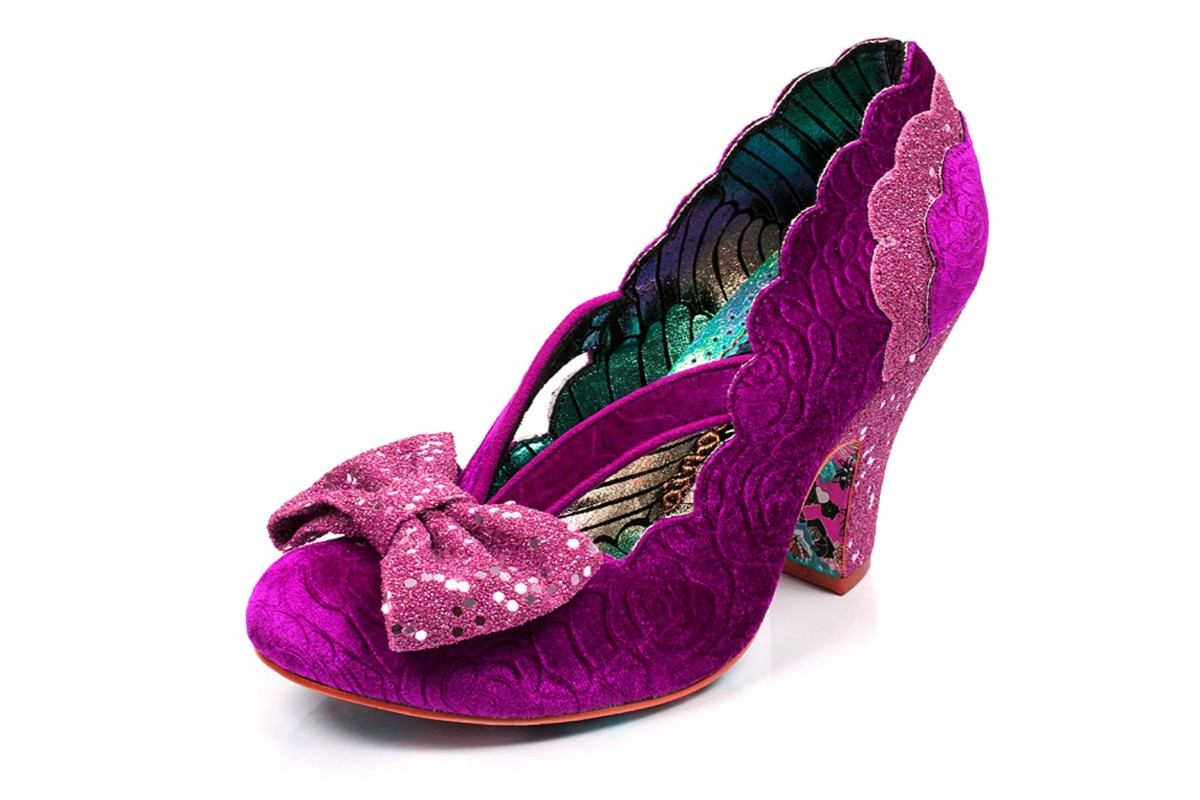 8cb927284df9 Irregular Choice Curtain Call Pink Purple Velvet Glitter High Heel Shoes -  KissShoe