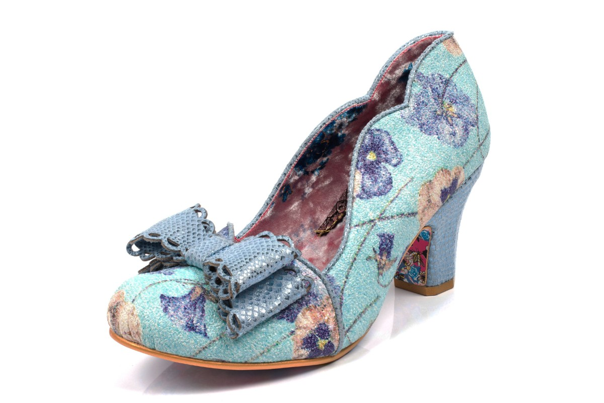 Irregular Choice Deco Dreams Blue Floral Mid Heel Court Shoes