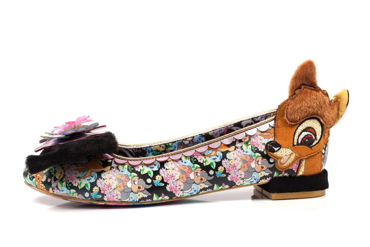 Irregular Choice Disney Bambi Forest Friends Black Floral Thumper Low Heel Shoes