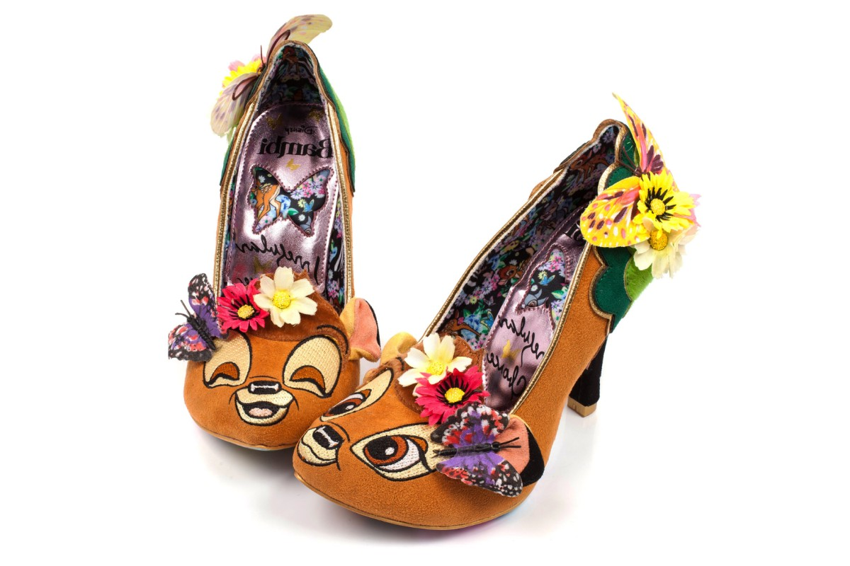 Irregular Choice Disney Bambi Hyah Bambi Brown Green Flower Butterfly High Heel Court Shoes