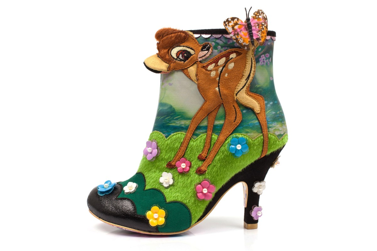 Irregular Choice Disney Bambi Woodland Playtime Black Green Flower Mid Heel Ankle Boots