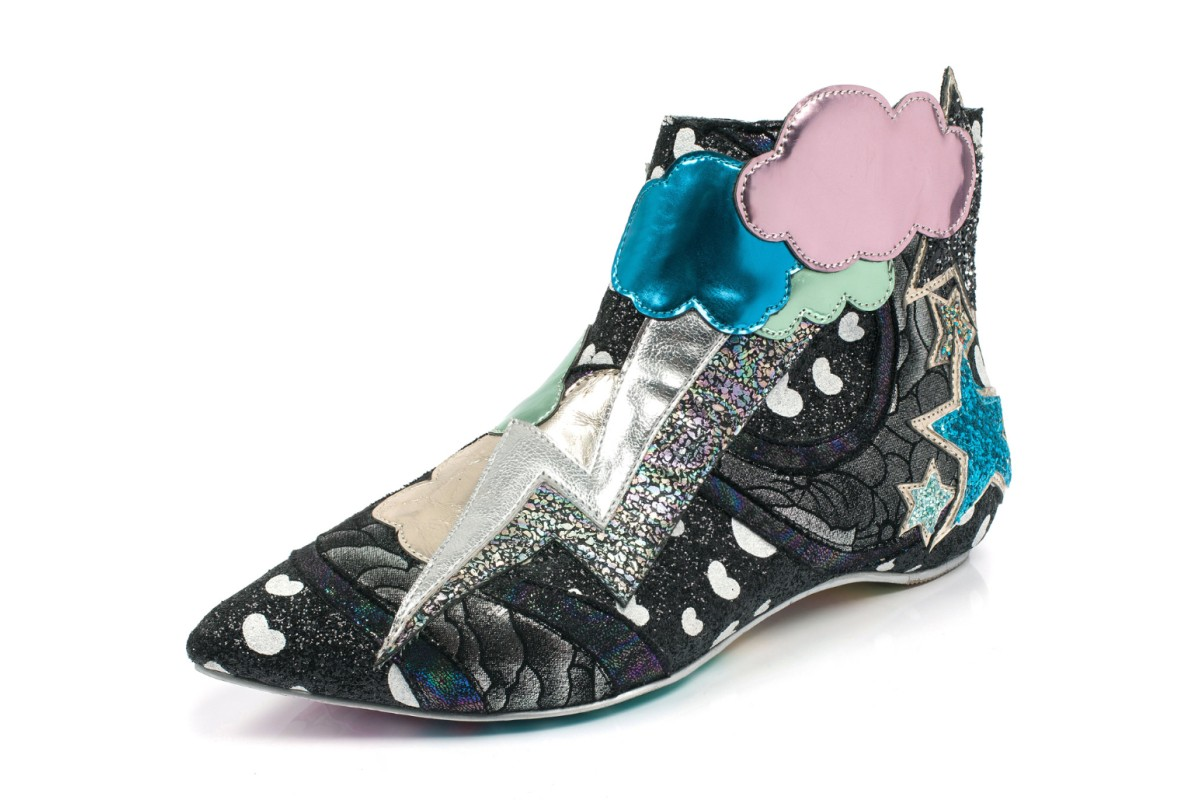 Irregular Choice Electric Buzz Black Silver Lightning Glitter Ankle Boots