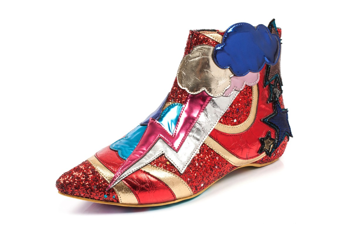Irregular Choice Electric Buzz Red Gold Lightning Glitter Ankle Boots