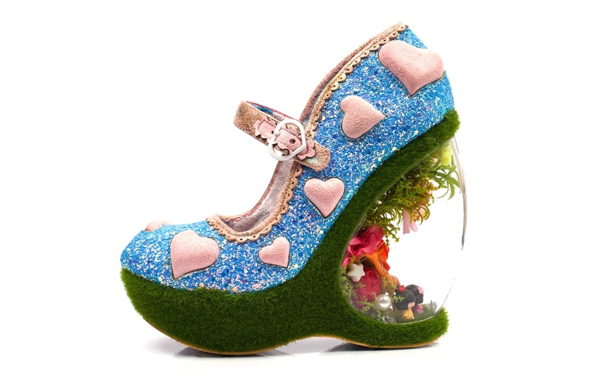 Irregular Choice Forbury Gardens Blue Pink Glitter Heart Limited Edition Wedge Heel Shoes