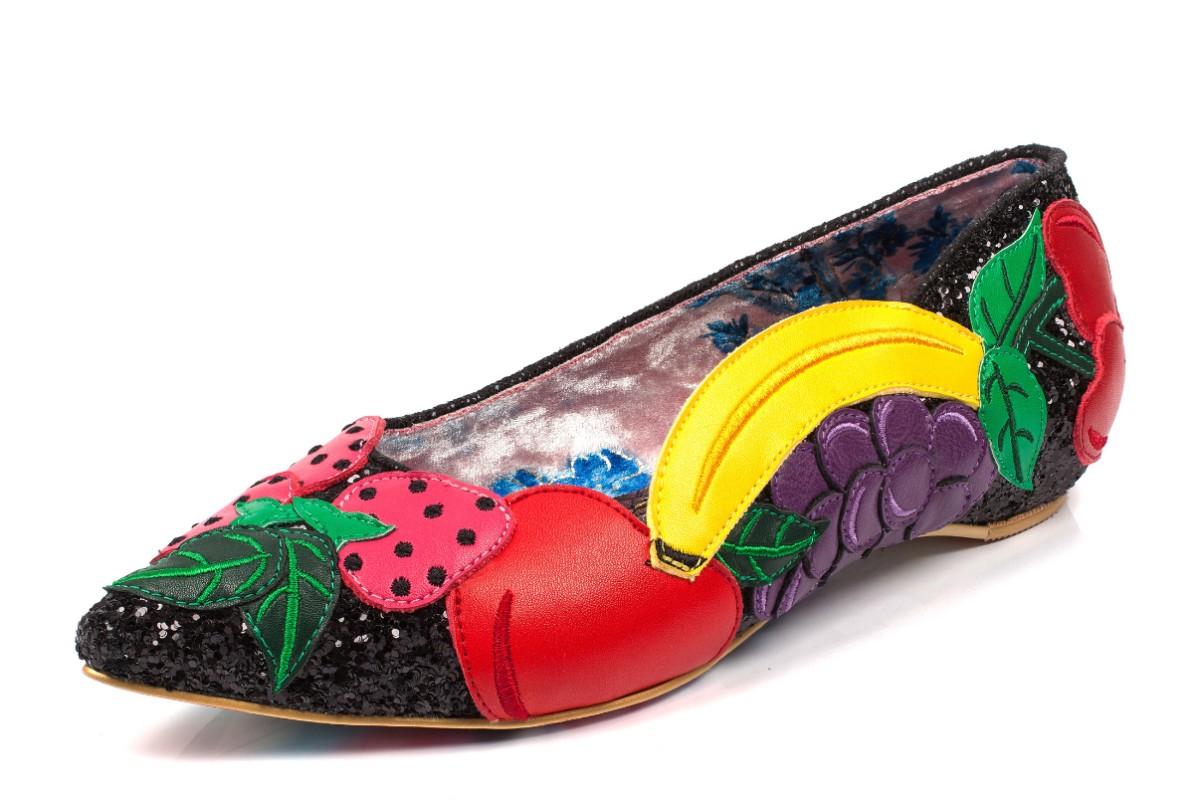 Irregular Choice Fruity Bowl Black Glitter Pointed Toe Ballet Shoes
