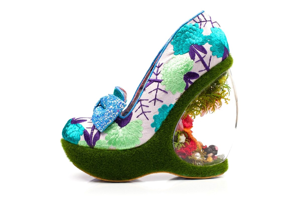 Irregular Choice Garden Paradise Purple Floral Limited Edition Wedge Heel Shoes
